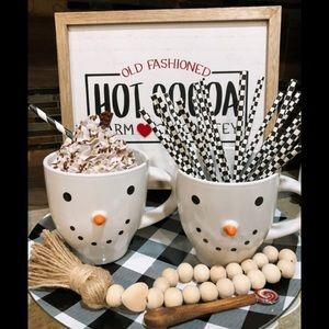 farmhouse rustic snowmen coffee cocoa mugs set
